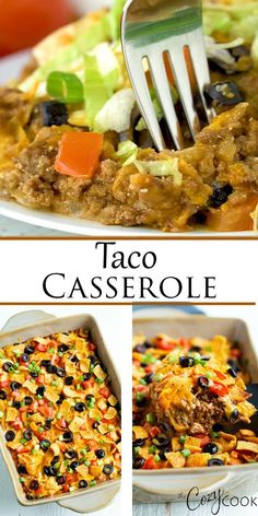 Chicken Enchiladas Discover Taco Casserole - Oven and Crock Pot Friendly! This Taco Casserole bake is an easy recipe with ground beef that your family will LOVE. You can even heat it in the Crock Pot! Ground Beef Recipes For Dinner, Dinner With Ground Beef, Easy Dinner Recipes, Easy Meals, Diabetic Recipe With Ground Beef, Ground Chuck Recipes Dinners, Recipes With Ground Beef Videos, Ground Beef Recipes Mexican, Hamburger Meat Recipes Ground