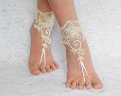 Lace barefoot sandals FREE SHIP beach wedding by MarrietDress