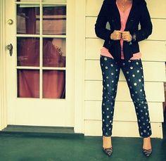 DIy polka dot jeans - wobisobi