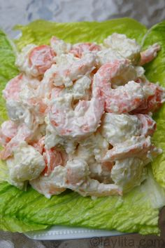 Ensalada de papas con camarones or shrimp potato salad