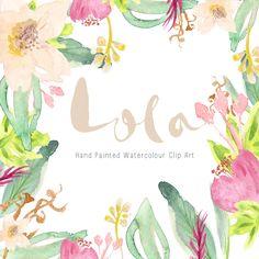 Watercolour Hand Painted Clip Art Lola por CreateTheCut en Etsy