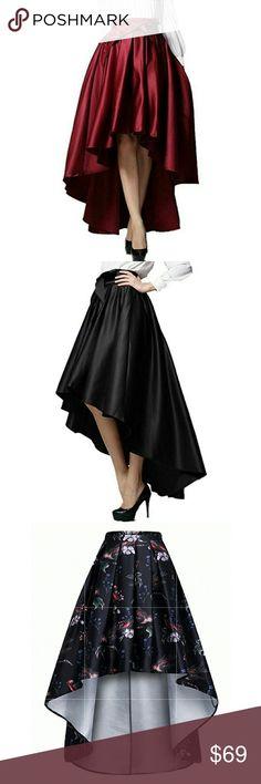 Hi-lo Skater Vintage Skirt 100% Polyester Women Vintage Elegant Skirt Side Zipper Detail Hi-lo Skirts See sizing below Xcel Couture Skirts