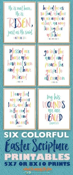 These Six Colorful Printable Easter Bible Scriptures are perfect for your Spring Decor. Each print represents an important scripture surrounding the resurrection. Easter Cards Religious, Catholic Easter, Jesus Easter, Easter Bible Verses, Bible Scriptures, Easter Sayings, Bible Quotes, Quotes Quotes, Easter Art