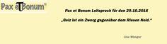 Pax et Bonum Leitspruch für den 29.10.2016