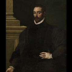 Attributed to Giovanni Battista #Moroni (1528-1578). Portrait of a Man. #Oil on #canvas. This rare Italian portrait second third of the #16th century (1565) depicts a man standing in front of a column. For sale on Proantic by Art & Antiquities Investment.