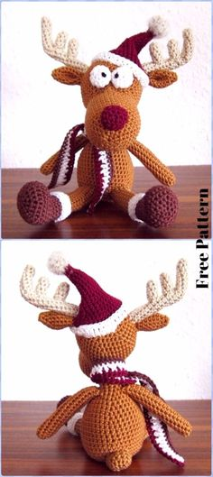Crochet Tobi Christmas Deer in Hat Free Pattern - Crochet Amigurumi Deer Toy Softies Free Patterns
