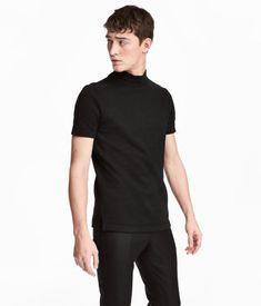 T-shirt med krage | Sort | HERRE | H&M NO