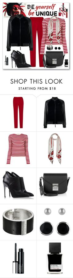 """""""Rockins Silk Lips Skinny Scarf Look"""" by romaboots-1 ❤ liked on Polyvore featuring Giuseppe Zanotti, Sonia Rykiel, Rockins, Sergio Rossi, MCM, GUESS, Lord & Taylor, Clinique and MiN New York"""