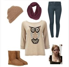would be a good school outfit if there wasnt a hat because some schools have rules about hats and with riding boots...well i would like it better with riding boots but it looks good with uggs too #ugg #boots #cyberweek