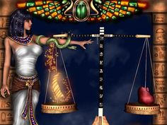 The Goddess of truth, Maat, balancing the scales of judgement of the heart against a feather.