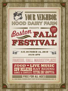 Hood Dairy Farm fall festival poster; love the vintage feel and homey theme