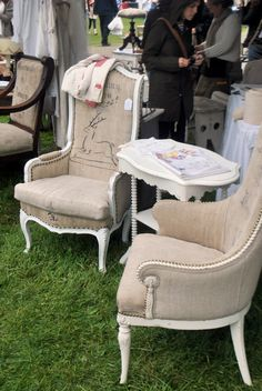 ....burlap reupholstered chairs-The Grower's Daughter