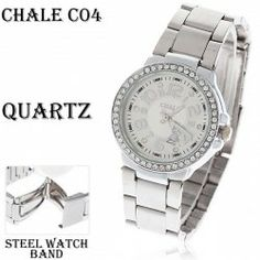 $5.03 Trendy Chale Women's Wrist Watch with Rhinestone Decoration Round Dial Silver Stainless Steel Watchband