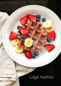 How to make traditional Liege Waffles. The perfect addition to a holiday brunch … How to make traditional lounge waffles. The perfect addition to a holiday brunch or breakfast! Top with fruit, nuts, chocolate or whatever your favorite topping might be. Sweet Desserts, Sweet Recipes, Eat Breakfast, Breakfast Recipes, Pancakes And Waffles, Leige Waffles, Waffle Recipes, Tasty Dishes, Yummy Food