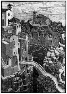 """""""The Bridge"""" by MC Escher 1930 Lithograph. 377mm x 536mm."""