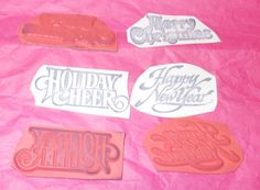 Holidays word rubber stamp lot Holiday Cheer Happy new Year Merry Christmas #Unbranded #WordsPhrases