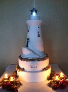 Carved Light House wedding cake! #lighthouse #cake #TheSweetDivine #StL More