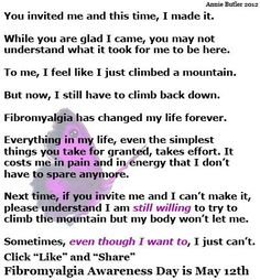 Fibromyalgia, sometimes the guilt of not being able to go is horrible....even though you want to so badly