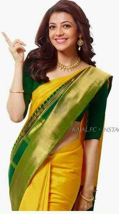Kajal Aggarwal More radha Indian Attire, Indian Wear, Indian Outfits, Saree Dress, Saree Blouse, Indian Sarees, Silk Sarees, Kajal Agarwal Saree, Indische Sarees