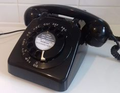 Original Vintage Retro 1960's GPO 706 Rotary Dial Black Telephone *Restored*