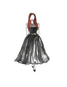 Black Tea Length Watercolor Dress Fashion by kellyannecamille