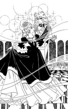 Oscar and the Queen Antoinette at the ball. From Rose of Versailles.