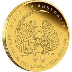Discover Australia 2010 Frilled Neck Lizard 1/25 oz Gold  2010 lizard  discover gold coin  , Perth mint gold coin, gold coin ,gold,  1/25 ounce gold coin
