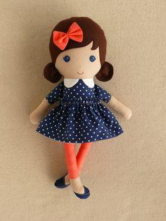 Small Fabric Doll Rag Doll 15 Inch Cloth Doll with by rovingovine