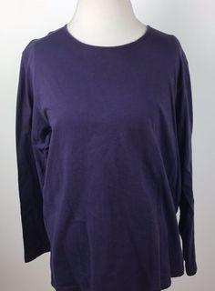 Eddie Bauer Shirt size XL Womens Purple Long Sleeve Top 100% Cotton Casual #EddieBauer #CasualBlouse #Casual