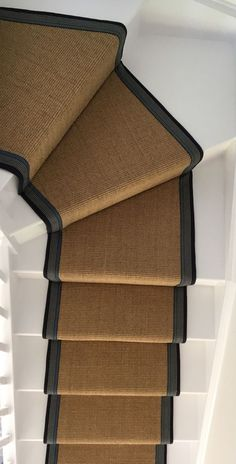 Sisal Carpet fitted as a bespoke taped stair runner with blue taping to white painted staircase in Berkshire Edwardian Staircase, Victorian Stairs, Staircase Remodel, Staircase Makeover, Sisal Stair Runner, Stair Runners, Staircase Carpet Runner, Painted Staircases, Spiral Staircases