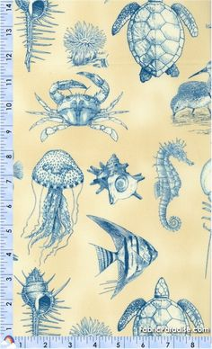 Seaside Cottage - Sea Life on Sand - Fish & Sea Life, Elkabee's Fabric Paradise.com, LLC