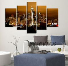 CANVAS ART - Seatle City Night Skyline Canvas Print - 5 Panel Canvas Wall Art - Seatle City Landscape - Giclee Print - Framed