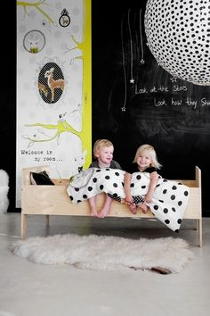 Adore children's rooms done in black & white with a pop of color!