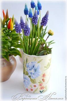 Купить Мускари - голубой, мускари, Холодный фарфор, подарок на 8 марта, подарок, украшение интерьера