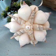 White Starburst Sea Shell Beach ornament by CarmelasCoastalCraft, $15.00
