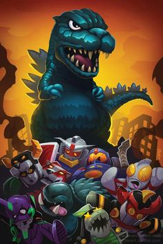 Godzilla frightens away all heroes and opponents.