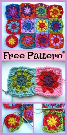 This listing of 10 Beautiful Crochet Granny Squares – Free Patterns (and links to a lot of more) comes with Crochet Square Blanket, Granny Square Crochet Pattern, Crochet Squares, Crochet Granny, Granny Squares, Crochet Flower Tutorial, Crochet Flower Patterns, Afghan Crochet Patterns, Knitting Patterns
