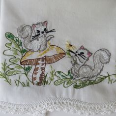 Vintage SQUIRRELS Hand Embroidered Pillowcase by shabbyshopgirls, $14.00