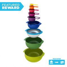 Joseph Joseph 40087 Nest 9 Nesting Bowls Set with Mixing Bowls Measuring Cups Sieve Colander, Multicolored