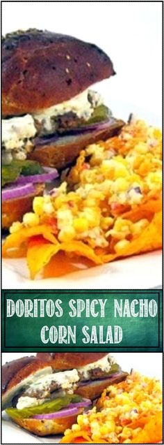 EASY DELICIOUS Cold Doritos Corn Salad,,, the recipe was found at the saddest but BEST place to find something wonderful... A funeral feast at a small town. Everyone brought their tastiest and this WAS OUTSTANDING... Doritos chips add texture and seasoning to a cold corn salad. Perfect picnic food (and I hope when my time comes my friends snack on this and tell good lies about me). ENJOY!