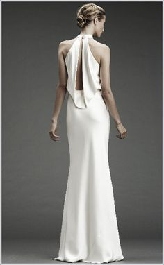 simple satin wedding gown