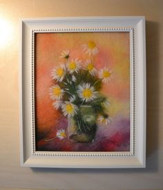 Wool Painting Chamomile Wool Art Felt Painting by WoolPictures
