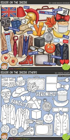 """Bigger on the Inside"" digital scrapbooking elements 
