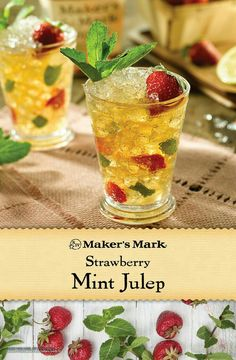 A delectable new take on a beloved classic! Sweet with just the right touch of tanginess, this Maker's-based recipe gets any occasion up and running. Ingredients: 2 parts Maker's Mark® Bourbon, 2 sliced strawberries, part simple syrup, 6 fresh mint le Bourbon Cocktails, Summer Cocktails, Cocktail Drinks, Fun Drinks, Alcoholic Drinks, Beverages, Party Drinks, Cocktail Recipes, Tea Party
