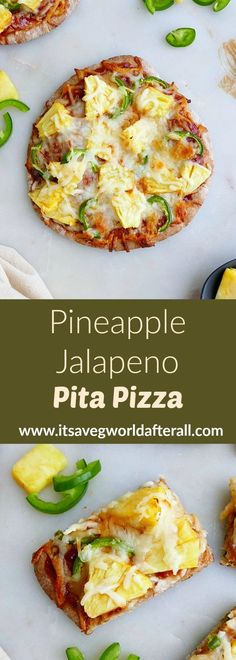 This sweet and spicy Pineapple Jalapeno Pizza uses whole wheat pita bread and barbecue sauce as the base. With only five ingredients and 30 minutes of prep time, it's a great vegetarian dinner option for the whole family! #pizzanight #pizzarecipes #healthypizza Vegetarian Dinner For One, Vegetarian Pizza, Healthy Pizza, Vegetarian Recipes, Healthy Weeknight Meals, Easy Meals, Bbq Pineapple, Whole Wheat Pita Bread, Healthy Vegetable Recipes