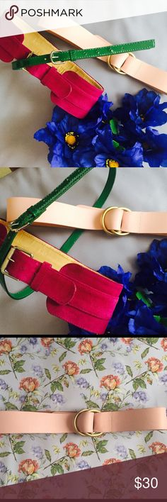 Pick a belt! 😍 💋Chloe Hot Pink Vintage Belt - scuffing on inside due to age, not visible outside. Price reflects this. (Sz XXS) $17 💋Green H&M Minimalist Belt - scuffing only on inside, not visible when worn. $6 Price reflects. (Sz Medium) 💋Pastel pink belt with muted gold hardware in perfect condition (Sz.Medium) $10. Let me know which one you'd like or get them all for $30! Accessories Belts