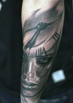 Portrait Face Men's Traditional Clock Tattoo