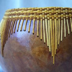 Medium russet gourd bowl gold and orange variegated thread