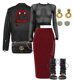 """""""Burgundy Kiss @polyvore"""" by styledbytee on Polyvore featuring Yves Saint Laurent, Roland Mouret, PAM, Chanel, Gucci and Zimmermann"""