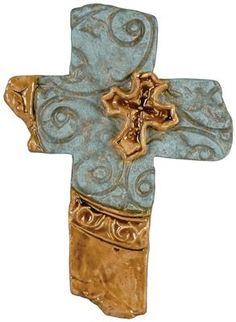 Western Clay Art Cross - Blue/Cream